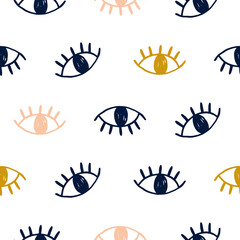 Vector hand drawn seamless pattern with open eyes