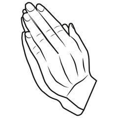 A vector image of hands put together. Prayer