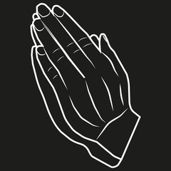 A vector image of hands put together. Prayer