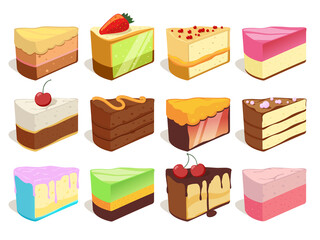Cream cake slices pieces. Vector illustrations set in cartoon style