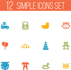 Set Of 12 Child Icons Set.Collection Of Toy, Girl, Nappy And Other Elements.