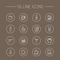 Set Of 16 Drinks Outline Icons Set.Collection Of Hotdrink, Champagne, Ice Bucket And Other Elements.