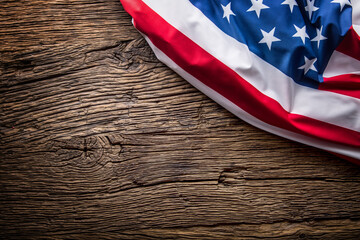 USA flag. American flag. American flag on old wooden background.Horizontal.