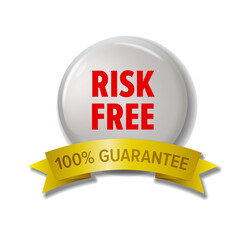 White round label with red text 'Risk Free'