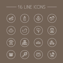 Set Of 16 Child Outline Icons Set.Collection Of Toys, Balloons, Bottle And Other Elements.