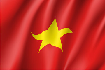 Waving flag of Socialist Republic of Vietnam. Vietnamese patriotic sign in official national country color and emblem. Symbol of Southeast Asia state. Vector icon illustration