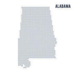 Vector dotted map State of Alabama isolated on white background .