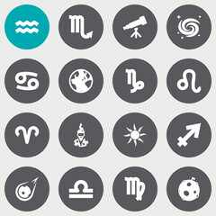 Set Of 16 Astronomy Icons Set.Collection Of Scales, Comet, Solar And Other Elements.