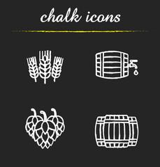 Beer chalk icons set