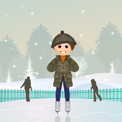 child on ice rink