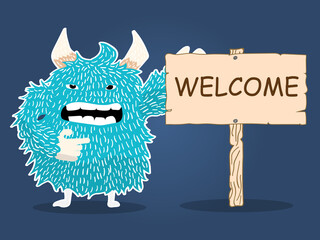 monster character cartoon wood plate welcome vector