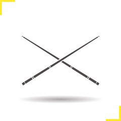 Crossed billiard cues glyph icon