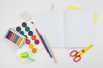 School supplies on white background. Place for text.