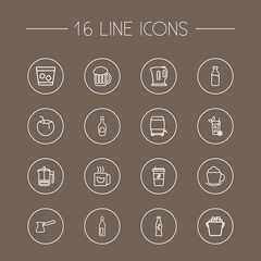 Set Of 16  Outline Icons Set.Collection Of Wine Cask, Ice Bucket, Champagne And Other Elements.