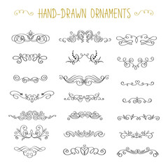 Vintage styled calligraphic flourishes and swashes. Collection or set of handdrawn ornate elements. Flourishes and frames made in vector