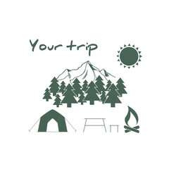 Camping and outdoor adventure logo. Color tourism emblem