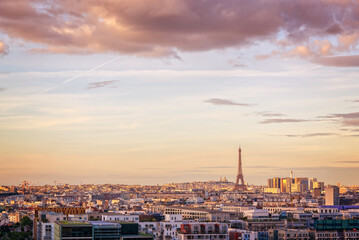Wall Mural - Aerial scenic view of Paris with the Eiffel tower at sunset, Montmartre in the background, France and Europe city travel concept