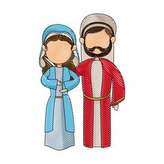 cartoon virgin mary and joseph manger image vector illustration