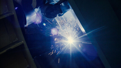 Close up of welder at work in metal industry