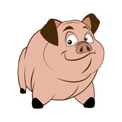 cute pig, funny piggy standing and smiling vector illustration