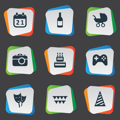 Vector Illustration Set Of Simple Birthday Icons. Elements Beverage, Game, Mask And Other Synonyms Cap, Carriage And History.