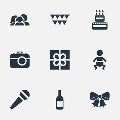 Vector Illustration Set Of Simple Birthday Icons. Elements Speech, Domestic, Decorations; And Other Synonyms Photography, Camera And People.