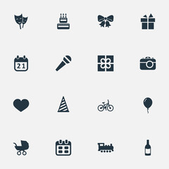 Vector Illustration Set Of Simple Celebration Icons. Elements Special Day, Soul, Speech And Other Synonyms Schedule, Beverage And Feelings.