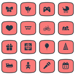 Vector Illustration Set Of Simple Birthday Icons. Elements Box, Infant, Bicycle And Other Synonyms Box, Feelings And Microphone.