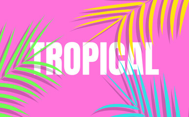 Tropical background with colorful exotic leaves for sale, promotion, discount, web.