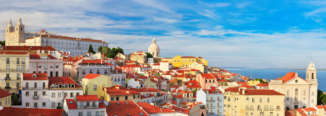 Lisbon cityscape, view of the Alfama downtown Wall mural