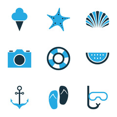 Sun Colorful Icons Set. Collection Of Watermelon, Sailing, Shell And Other Elements. Also Includes Symbols Such As Tube, Flop, Anchor.