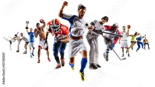 "Color Sport Background Football Basketball Hockey Stock: ""Huge Multi Sports Collage Soccer Basketball Football"