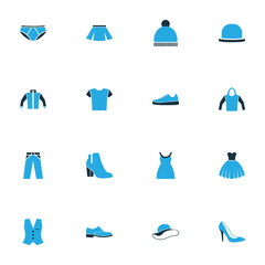 Clothes Colorful Icons Set. Collection Of Jacket, Sneakers, Female Boots And Other Elements. Also Includes Symbols Such As Man, Underpants, Panama.