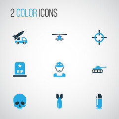 Army Colorful Icons Set. Collection Of Artillery, Bullet, Tank And Other Elements. Also Includes Symbols Such As Die, Panzer, Cranium.