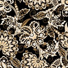 Floral illustration in damask style. ethnic background