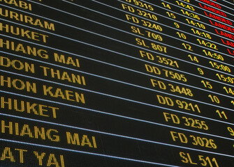 Flight travel airport business concept : Airport flight information , departure , arrival led sign board for background