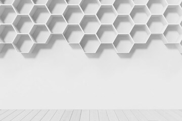 Empty white wall with hexagon shelves on the wall, 3D rendering
