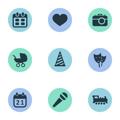 Vector Illustration Set Of Simple Celebration Icons. Elements Mask, Days, Speech And Other Synonyms Cap, Actor And Photo.