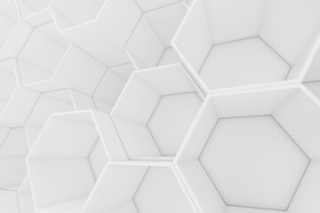 White empty geometric hexagonal honeycomb abstract background, 3D rendering