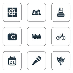 Vector Illustration Set Of Simple Celebration Icons. Elements Camera, Special Day, Bicycle And Other Synonyms Sport, Day And Steam.
