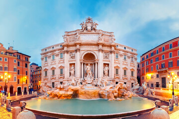 Rome Trevi Fountain or Fontana di Trevi in the morning, Rome, Italy. Trevi is the largest Baroque, most famous and visited by tourists fountain of Rome.
