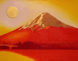 """Mont Fuji Rouge avec Gold Sun du lac """"Kawaguchi"""" Japon"""