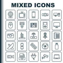 Icons Set. Collection Of Security Camera, Computer Monitor, Call And Other Elements. Also Includes Symbols Such As Socket, Fan, Laptop.