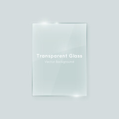 Transparent vertical vector glass shape. Geometric abstract glass rectangle design element with transparency.