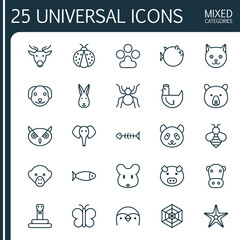 Nature Icons Set. Collection Of Moose, Butterflyfish, Night Fowl And Other Elements. Also Includes Symbols Such As Starfish, Hare, Rabbit.