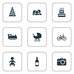 Vector Illustration Set Of Simple Celebration Icons. Elements Confectionery, Camera, Baby Carriage And Other Synonyms Beverage, People And Camera.