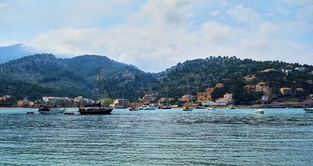 View of the bay of Port de Soller, Spain