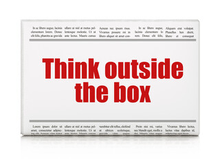 Learning concept: newspaper headline Think outside The box