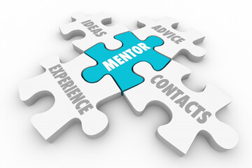 Mentor Advice Experience Guidance Contacts Puzzle Pieces 3d Illustration