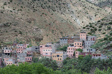 The solitary Berber village of Sti Fadma, also known as Setti Fatma, situated in Ourika Valley, close to the seven waterfalls, in Southern Atlas Mountains, Morocco